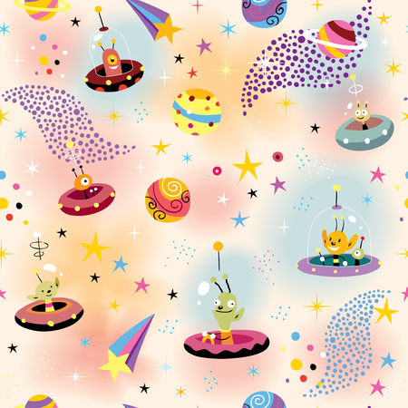 cute aliens in space pattern Vector