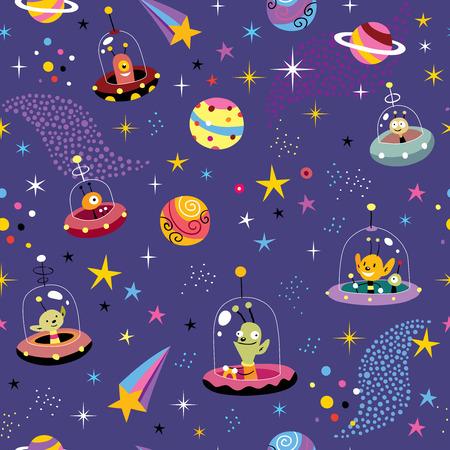 귀여운 외계인 공간 패턴