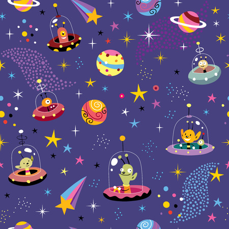 space pattern with cute aliens Ilustrace