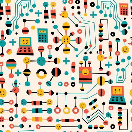 computer science: cartoon circuit board pattern Illustration