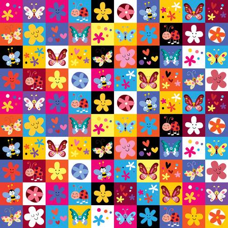 paper flying: cute butterflies beetles flowers pattern
