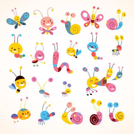 cartoon snail: cute butterflies beetles snails set Illustration