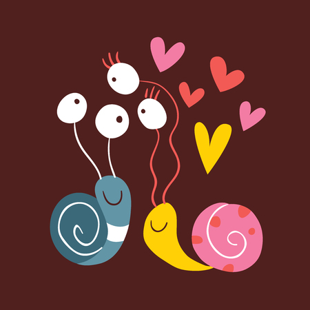 animal mating: Snails In Love Illustration