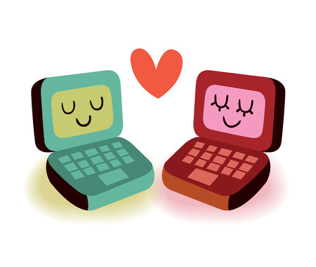 couple dating: Two laptop computers in love