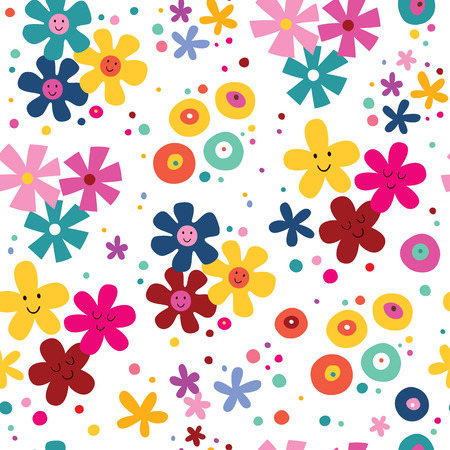happy people white background: flowers pattern