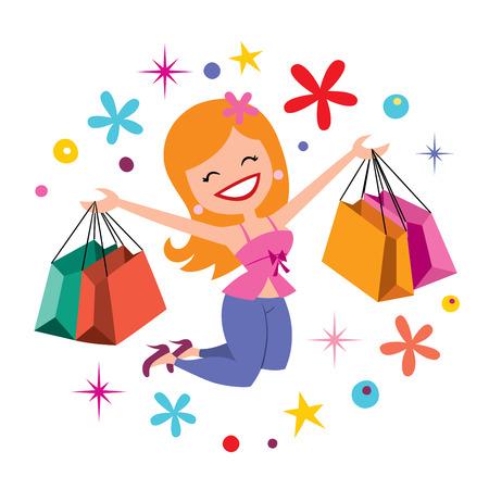 gelukkig meisje winkelen Stock Illustratie