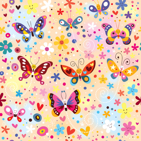 colorful butterflies pattern Vector