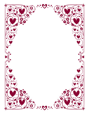 decorative hearts frame Illustration
