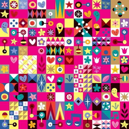 arte abstracto: corazones lindo, estrellas y flores patr�n del arte abstracto