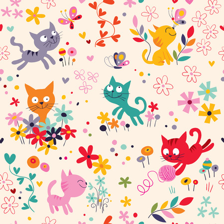 cute kittens pattern 일러스트