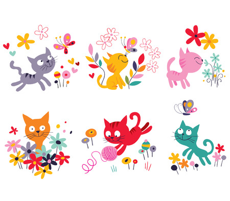 butterfly tail: cute kittens set Illustration