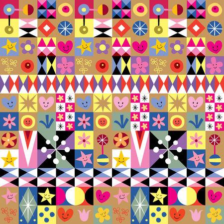 arte abstracto: corazones, estrellas y flores patr�n del arte abstracto