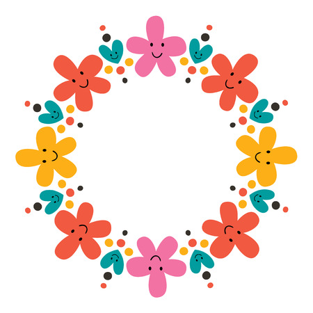 cute flowers frame Vector