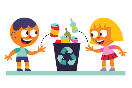 Boy and girl recycling Çizim