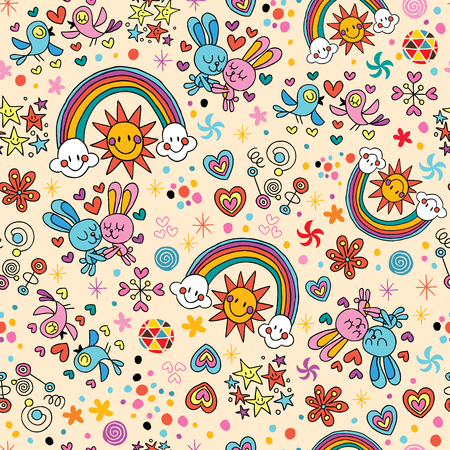 cute bunnies, birds, rainbows seamless pattern Vector
