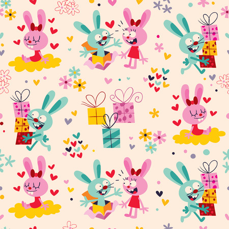 Bunnies   gifts pattern Vector
