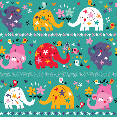 cute elephants pattern Vector