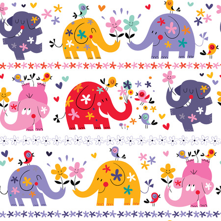 cute elephants seamless pattern Vector
