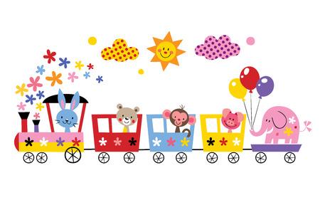 cartoon mensen: dier trein Stock Illustratie