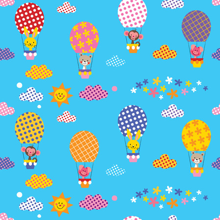 cute animals in hot air balloons Vector
