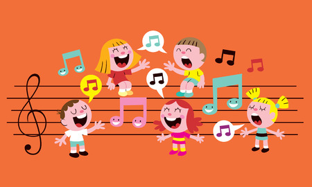 notes: music kids Illustration
