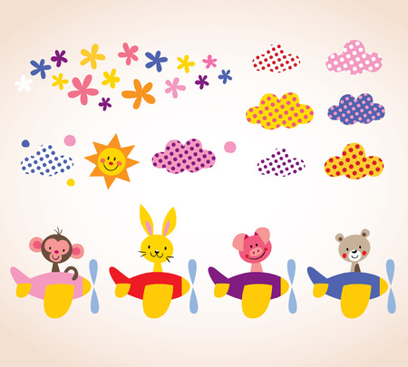 cute animals in airplanes kids design elements set Vector