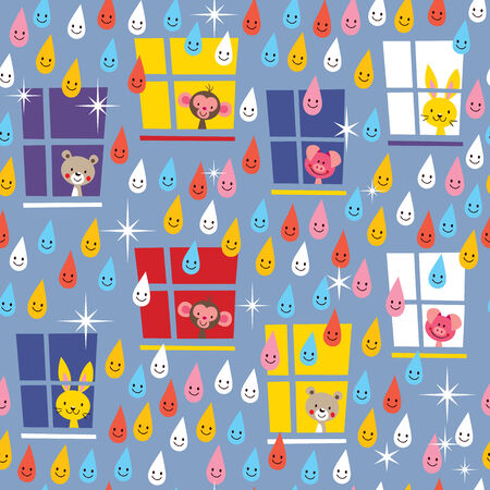 cute animals watching rain pattern Vector