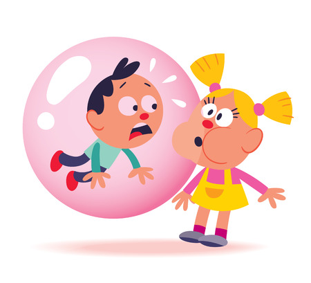 bubble gum kids Vector