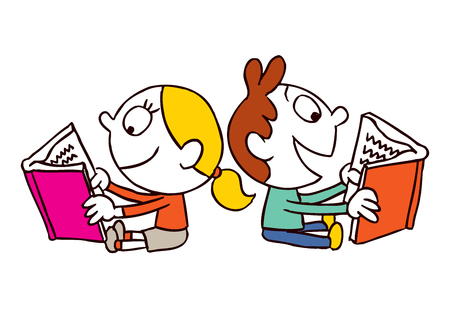kids reading book: girl and boy reading books