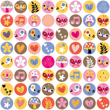cute flowers, birds, hearts pattern Vector