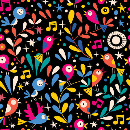 floral pattern with cartoon birds Vector
