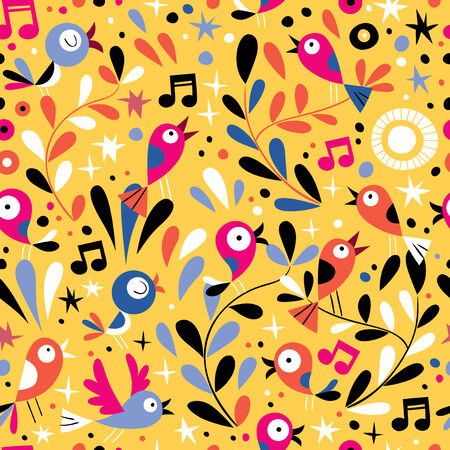 nature pattern with cute cartoon birds Vector