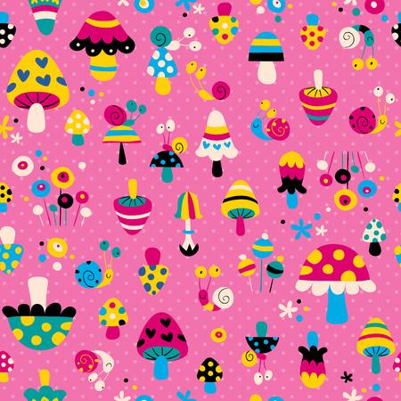 cartoon mushroom: mushrooms   snails pattern