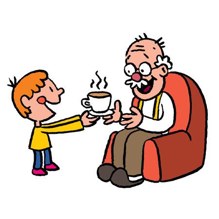 elder: grandson bringing tea to grandpa