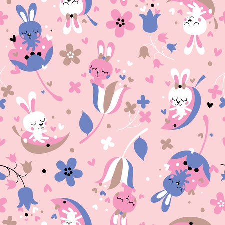 animal mating: cute love bunnies pattern Illustration