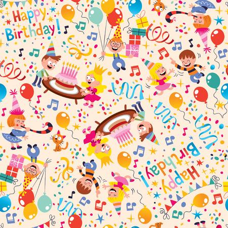 Gelukkige Verjaardag kinderfeest patroon Stock Illustratie
