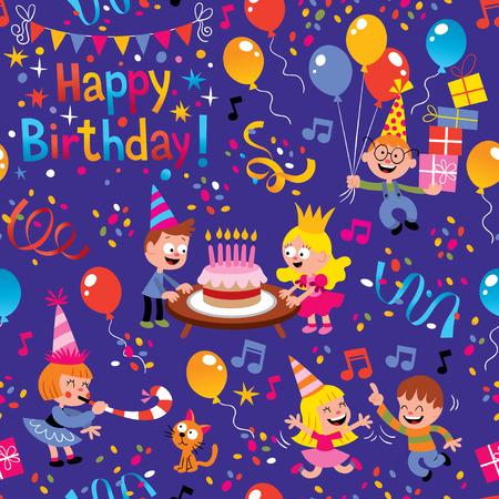 birthday candles: Happy Birthday kids pattern Illustration
