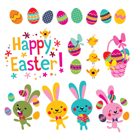 cartoon easter basket: Happy Easter design elements set