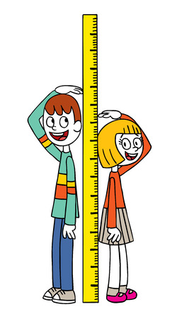子供の高さの測定  イラスト・ベクター素材