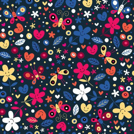 cute butterflies, hearts and flowers pattern Vector