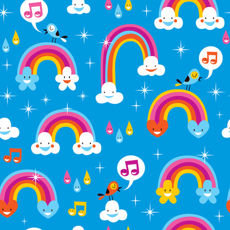 cute rainbows pattern Vector