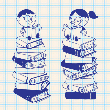 a literary sketch: cute kids reading on a big pile of books