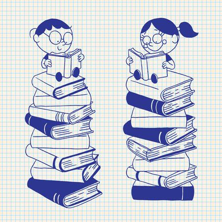 libro caricatura: niños lindos de leer en una gran pila de libros