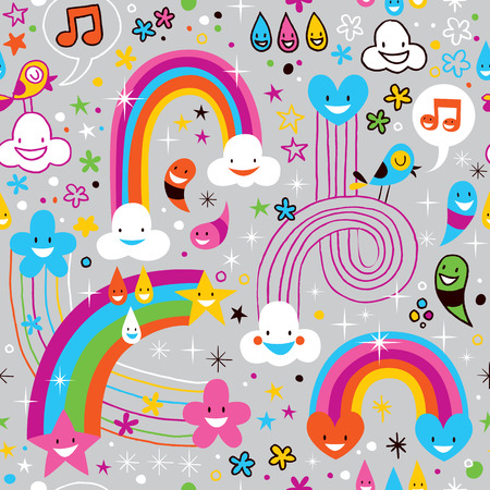 clouds rainbows rain drops fun pattern Vector