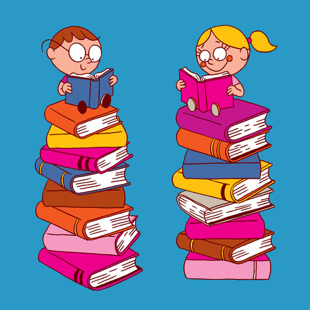 books isolated: Kids reading Illustration