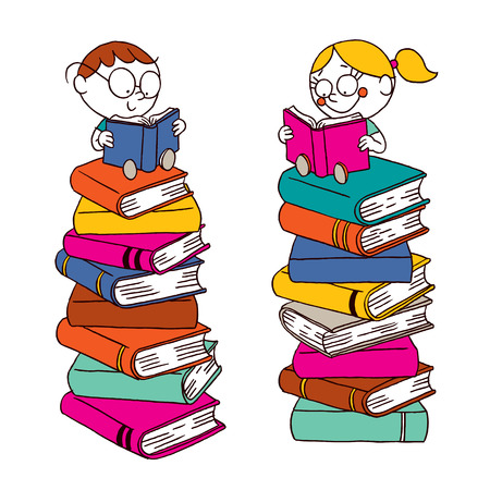 cartoon school girl: Kids reading on a big pile of books