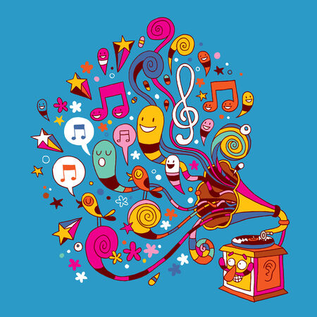 fun gramophone illustration Vector