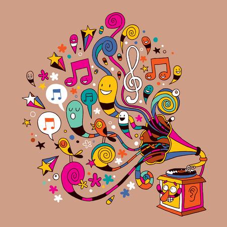 fun gramophone cartoon Illustration