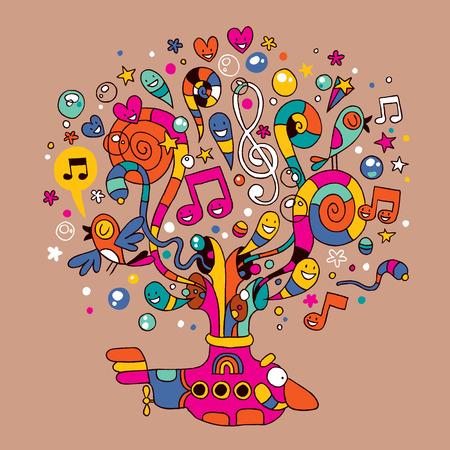 submarino: submarino con música colorida observa la ilustración
