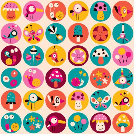 flowers, birds, mushrooms & snails pattern Illustration